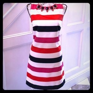 Vince Camuto Striped Dress with Neck Embellishment